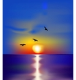 Sunset on sea with birds vector image vector image