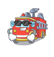 super cool fire truck character cartoon vector image vector image