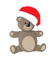 teddy with Christmas cap vector image