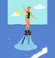 woman on water skis surfing in sea or ocean vector image vector image