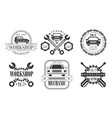 workshop premium retro labels set mechanic vector image vector image