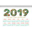 2019 desk calendar horizontal a4 white vector image