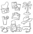 art summer object of doodles vector image