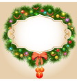 background with fir branches Christmas balls and g vector image