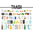 big collection of trash and garbage vector image vector image