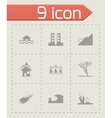 black disaster icons set vector image vector image