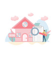 buying house concept with charactercreative flat vector image