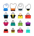 cartoon handbag or female bags color icons set vector image