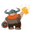 cartoon viking with beer vector image vector image