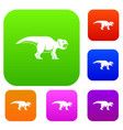 ceratopsians dinosaur set color collection vector image vector image