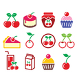 Cherry fruit cake jam icons set vector image vector image
