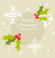 Christmas holly berry card vector image vector image