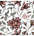 colorful seamless pattern with floral elements vector image