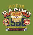 cute bear motor racing team speedway race vector image vector image