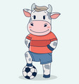 cute football soccer cow playing vector image
