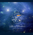 cute snowman on blue night sky glowing background vector image vector image