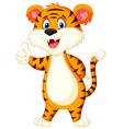Cute tiger cartoon thumb up vector image vector image