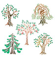 Different kinds of trees in abstract view vector image vector image