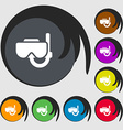 Diving mask icon sign Symbols on eight colored vector image