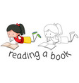 doodle girl reading book vector image vector image