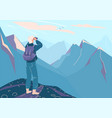 explore mountain background man vector image vector image