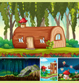 four different scene fantasy world with vector image vector image