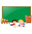 frame design with boy and girl reading books vector image vector image