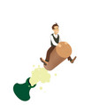 funny concept - a man flying on the cork vector image vector image