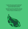 green vertical banner with 3d tree leaf cut out vector image vector image