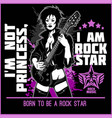 guitar lady on dark background - rock star slogan vector image vector image