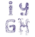 hand-drawn letters H I G Y vector image vector image