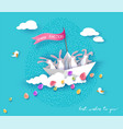 happy easter card with bunny flowers and egg vector image vector image