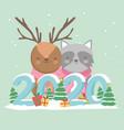 happy new year 2020 celebration reindeer raccoon vector image vector image