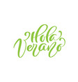 hola verano green calligraphic lettering text vector image vector image