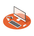 isometric concept workplace with laptop vector image vector image