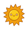 kawaii sun emoticon cartoon vector image