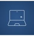 Laptop with cursor line icon vector image vector image
