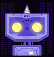 little cartoon purple robot with yellow eyes vector image vector image
