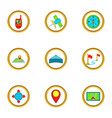 location icons set cartoon style vector image vector image