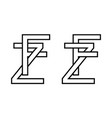 logo sign fz and zf icon sign interlaced letters z vector image