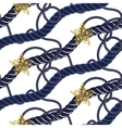Marine navy blue rope knot seamless pattern with vector image