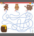 maze game with bear characters vector image vector image