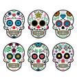 Mexican sugar skull Dia de los Muertos icons set vector image vector image
