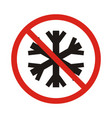 no snowflake no frozen red prohibition sign vector image vector image