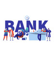 online bank business character typography banner vector image