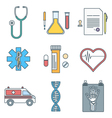 outline color medical icons set vector image vector image