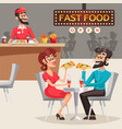 people in fast food restaurant vector image vector image