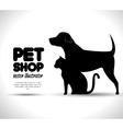 pet shop concept emblem dog and cat silhouette vector image