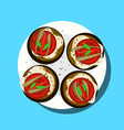 plate with four sandwiches vector image vector image