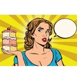 Pop art girl diet cake vector image vector image
